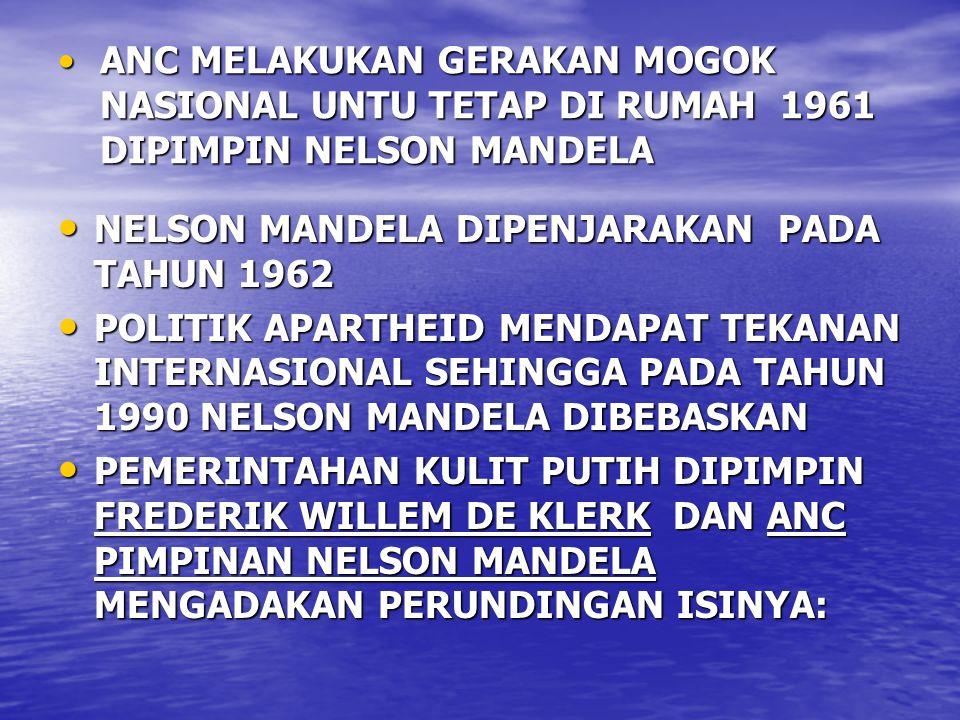 ANC MELAKUKAN GERAKAN MOGOK NASIONAL UNTU TETAP DI RUMAH 1961 DIPIMPIN NELSON MANDELA