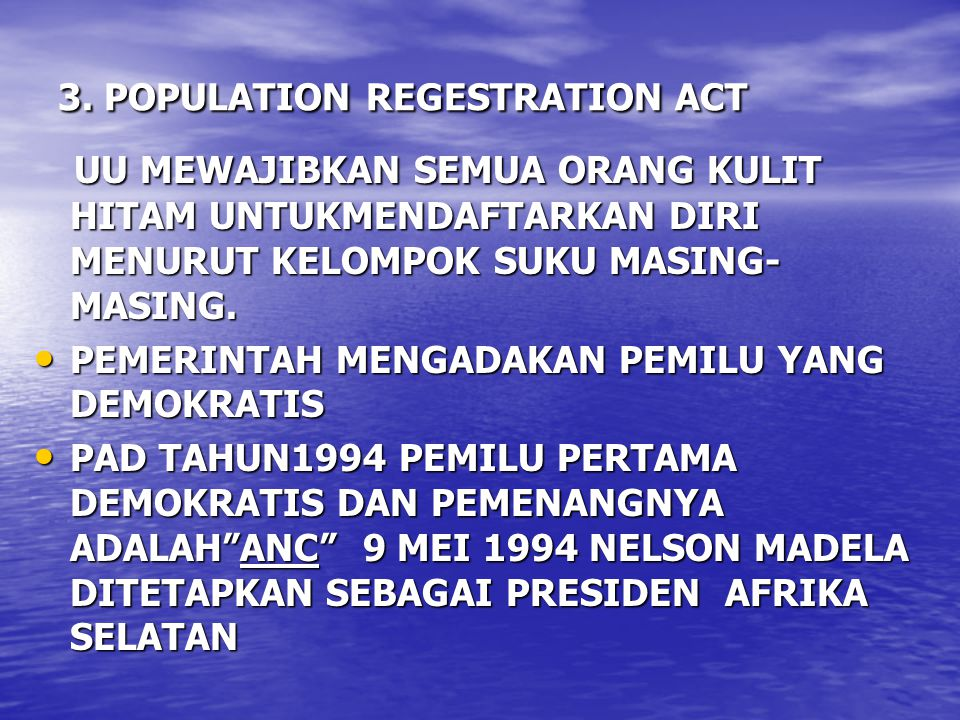 3. POPULATION REGESTRATION ACT