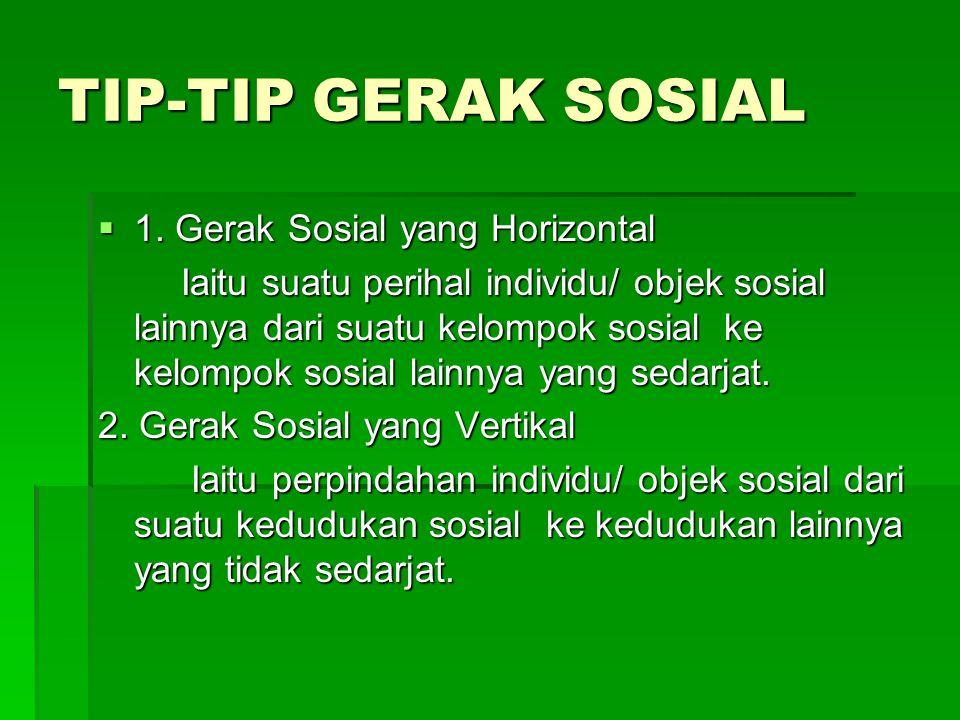 TIP-TIP GERAK SOSIAL 1. Gerak Sosial yang Horizontal