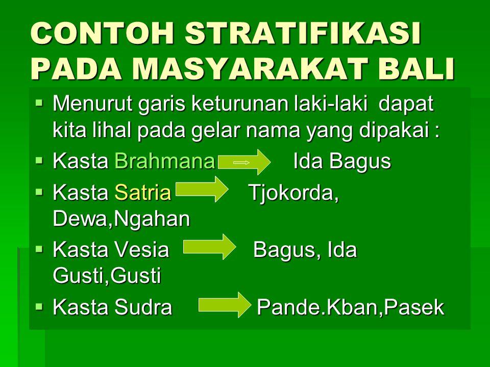 CONTOH STRATIFIKASI PADA MASYARAKAT BALI