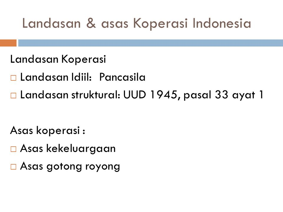 Landasan & asas Koperasi Indonesia