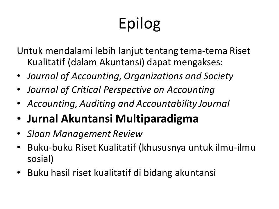 Epilog Jurnal Akuntansi Multiparadigma