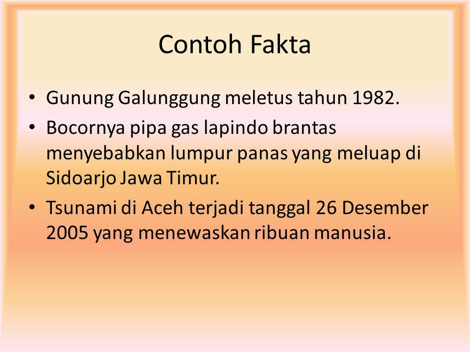 Contoh Fakta Gunung Galunggung meletus tahun 1982.