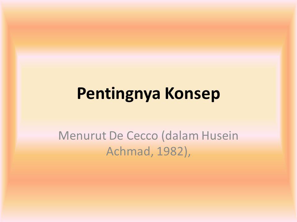Menurut De Cecco (dalam Husein Achmad, 1982),