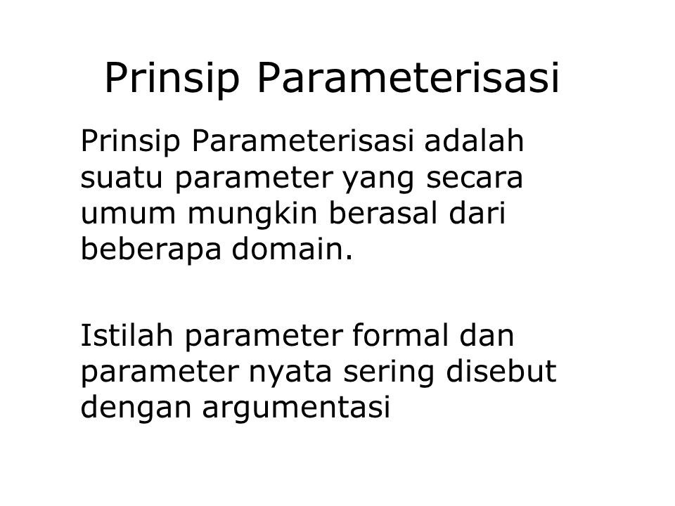 Prinsip Parameterisasi