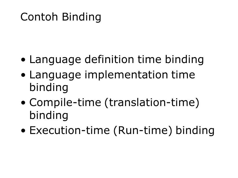 Contoh Binding Language definition time binding. Language implementation time binding. Compile-time (translation-time) binding.