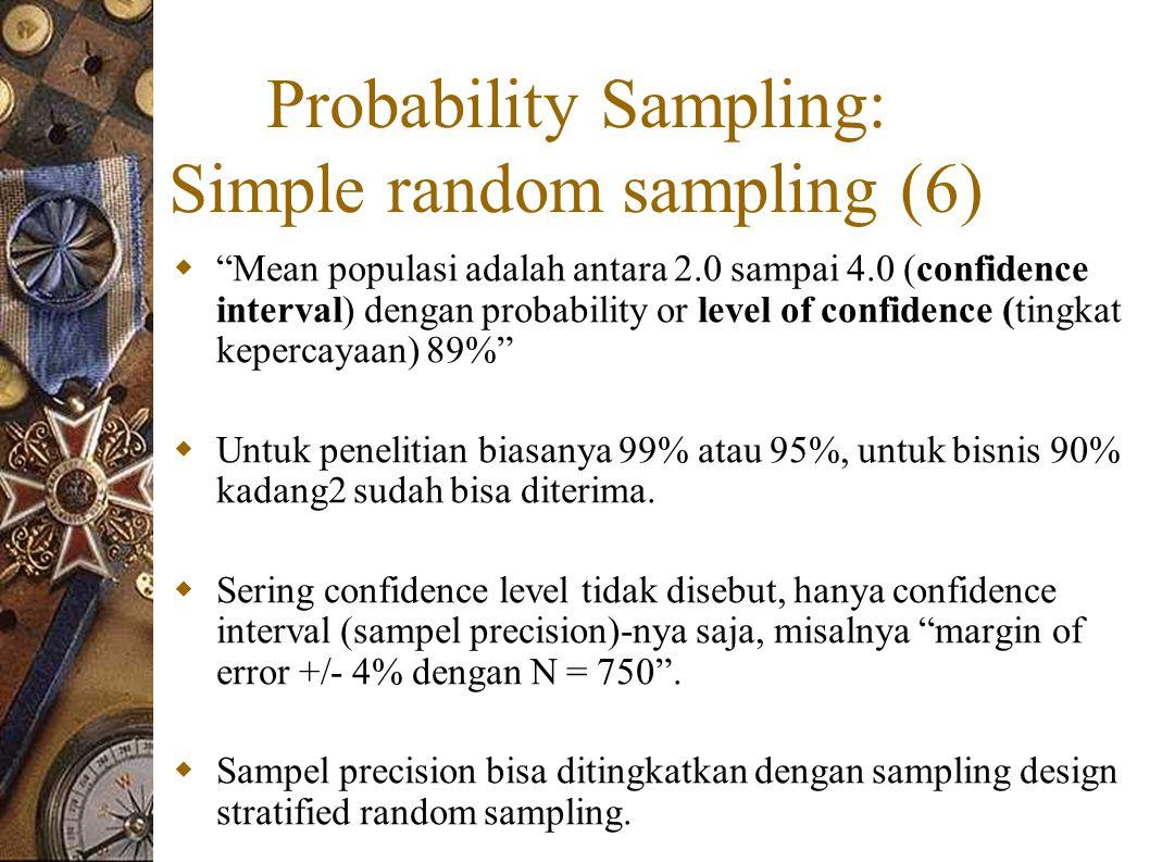 Probability Sampling: Simple random sampling (6)