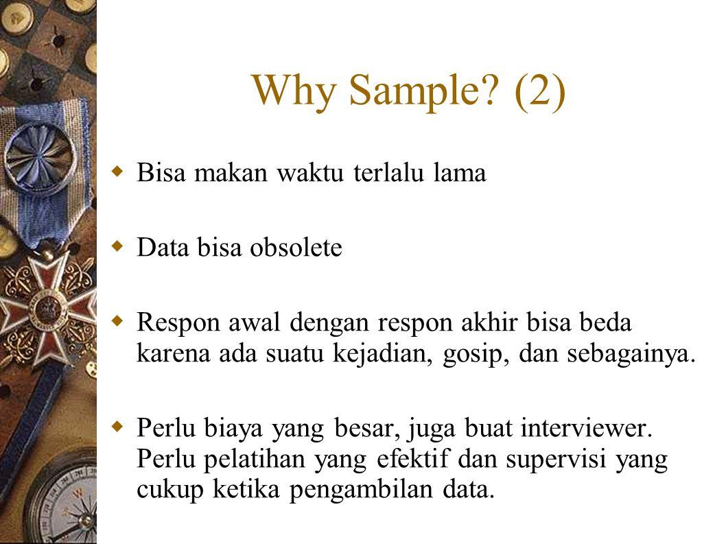 Why Sample (2) Bisa makan waktu terlalu lama Data bisa obsolete