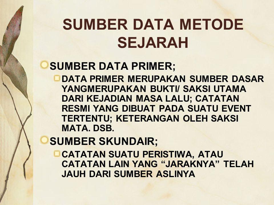 SUMBER DATA METODE SEJARAH