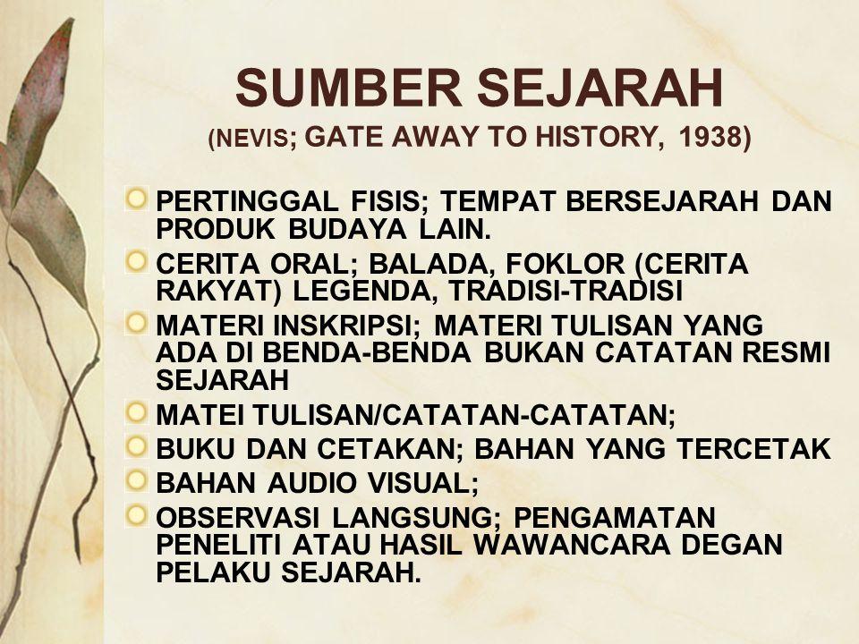 SUMBER SEJARAH (NEVIS; GATE AWAY TO HISTORY, 1938)