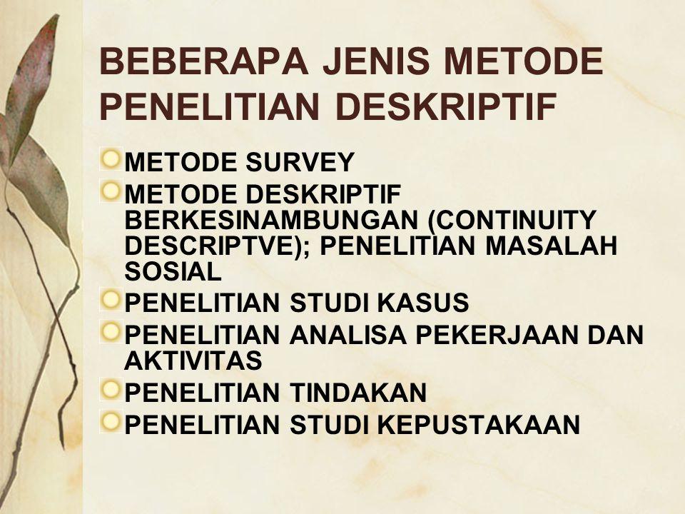 BEBERAPA JENIS METODE PENELITIAN DESKRIPTIF