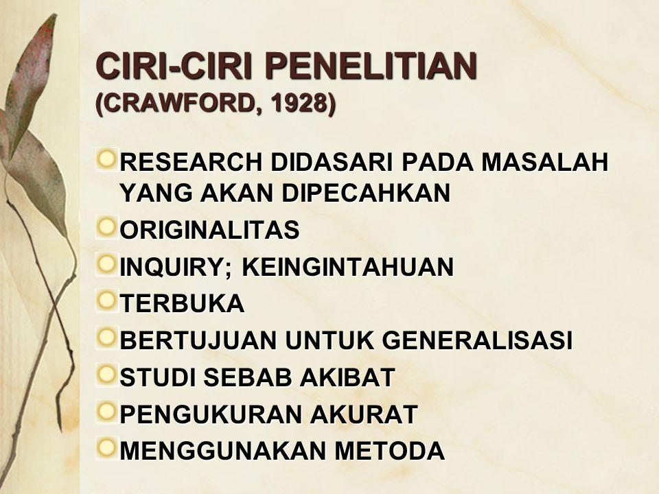 CIRI-CIRI PENELITIAN (CRAWFORD, 1928)