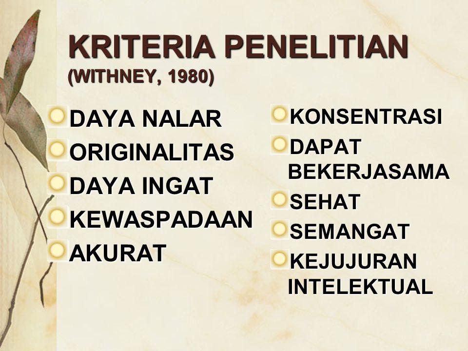 KRITERIA PENELITIAN (WITHNEY, 1980)