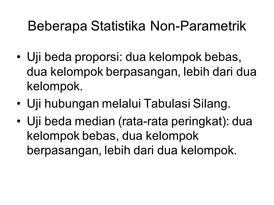 Beberapa Statistika Non-Parametrik