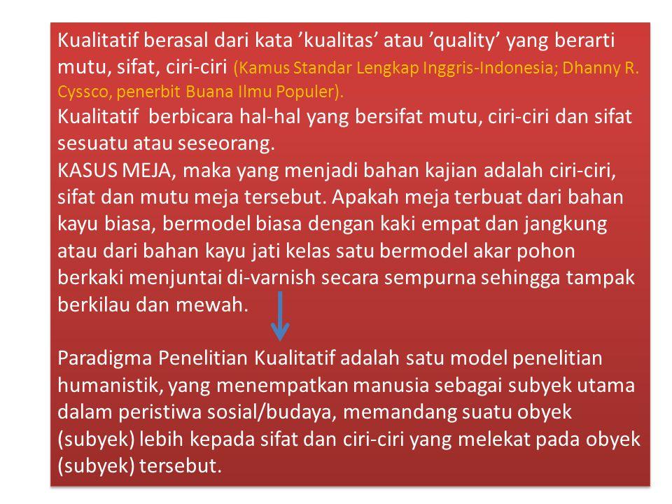 Kualitatif berasal dari kata 'kualitas' atau 'quality' yang berarti mutu, sifat, ciri-ciri (Kamus Standar Lengkap Inggris-Indonesia; Dhanny R. Cyssco, penerbit Buana Ilmu Populer).