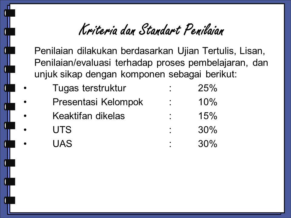 Kriteria dan Standart Penilaian