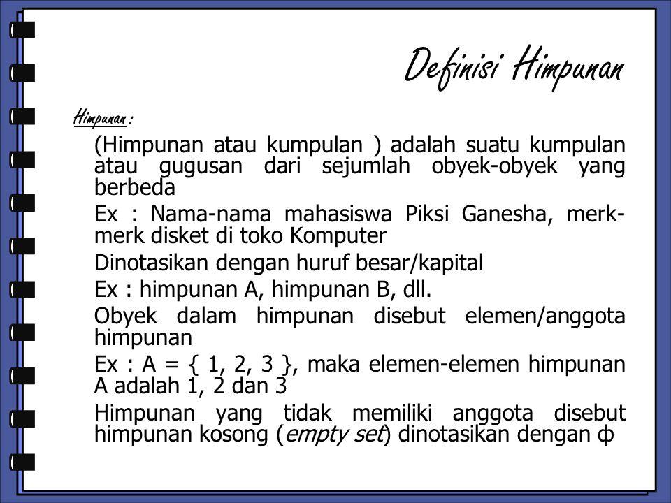 Definisi Himpunan Himpunan :
