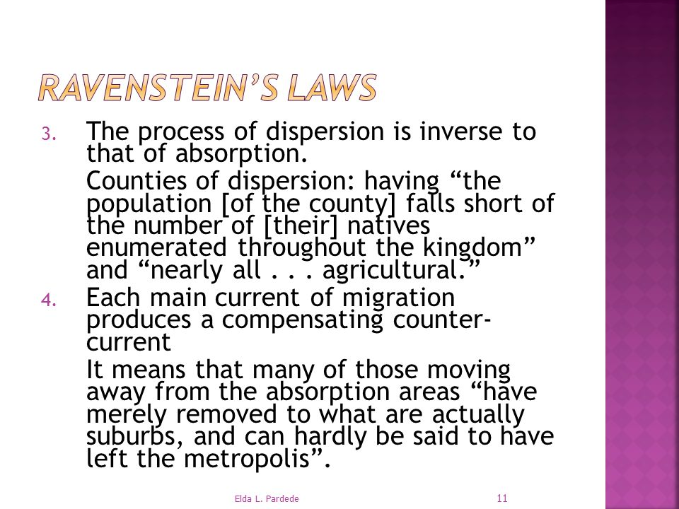 Ravenstein's Laws The process of dispersion is inverse to that of absorption.