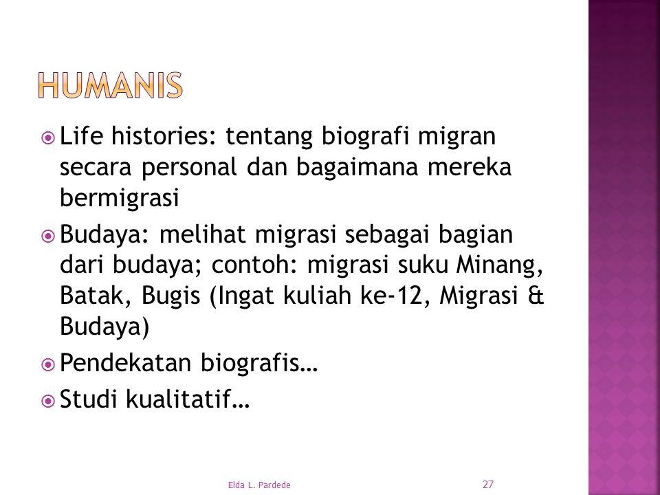 Humanis Life histories: tentang biografi migran secara personal dan bagaimana mereka bermigrasi.