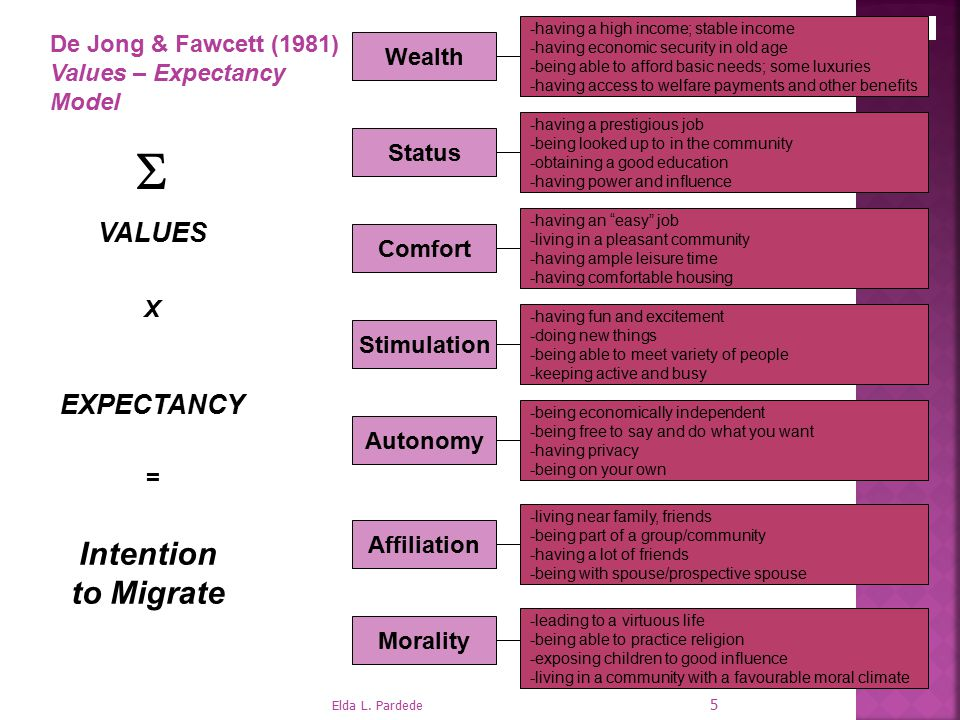 S Intention to Migrate VALUES EXPECTANCY De Jong & Fawcett (1981)