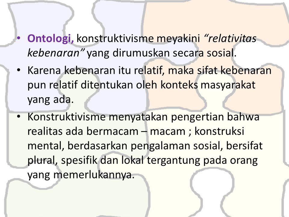Ontologi, konstruktivisme meyakini relativitas kebenaran yang dirumuskan secara sosial.