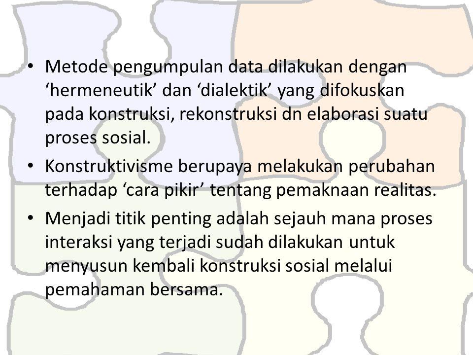 Metode pengumpulan data dilakukan dengan 'hermeneutik' dan 'dialektik' yang difokuskan pada konstruksi, rekonstruksi dn elaborasi suatu proses sosial.