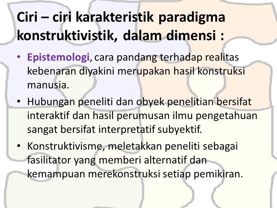 Ciri – ciri karakteristik paradigma konstruktivistik, dalam dimensi :