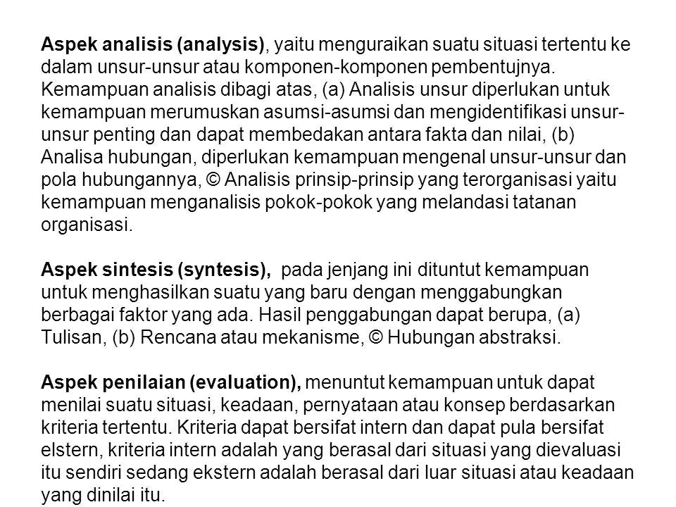 Aspek analisis (analysis), yaitu menguraikan suatu situasi tertentu ke dalam unsur-unsur atau komponen-komponen pembentujnya.