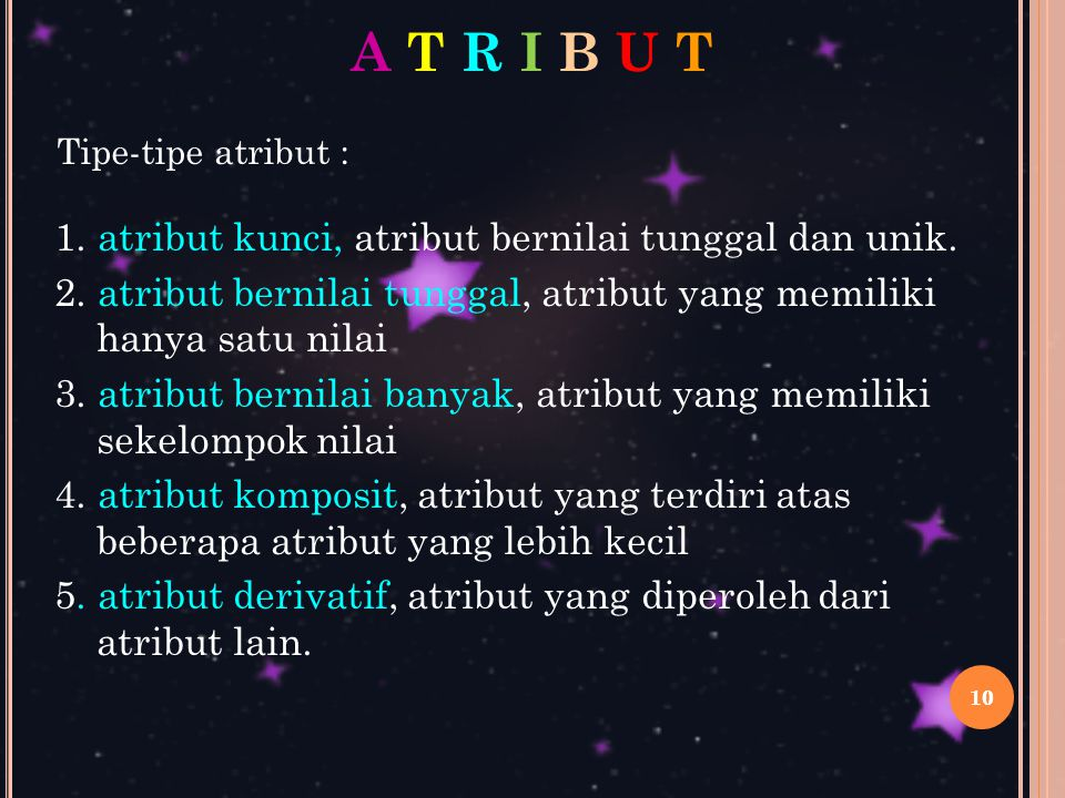 A T R I B U T 1. atribut kunci, atribut bernilai tunggal dan unik.