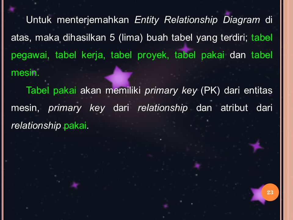 Untuk menterjemahkan Entity Relationship Diagram di atas, maka dihasilkan 5 (lima) buah tabel yang terdiri; tabel pegawai, tabel kerja, tabel proyek, tabel pakai dan tabel mesin.