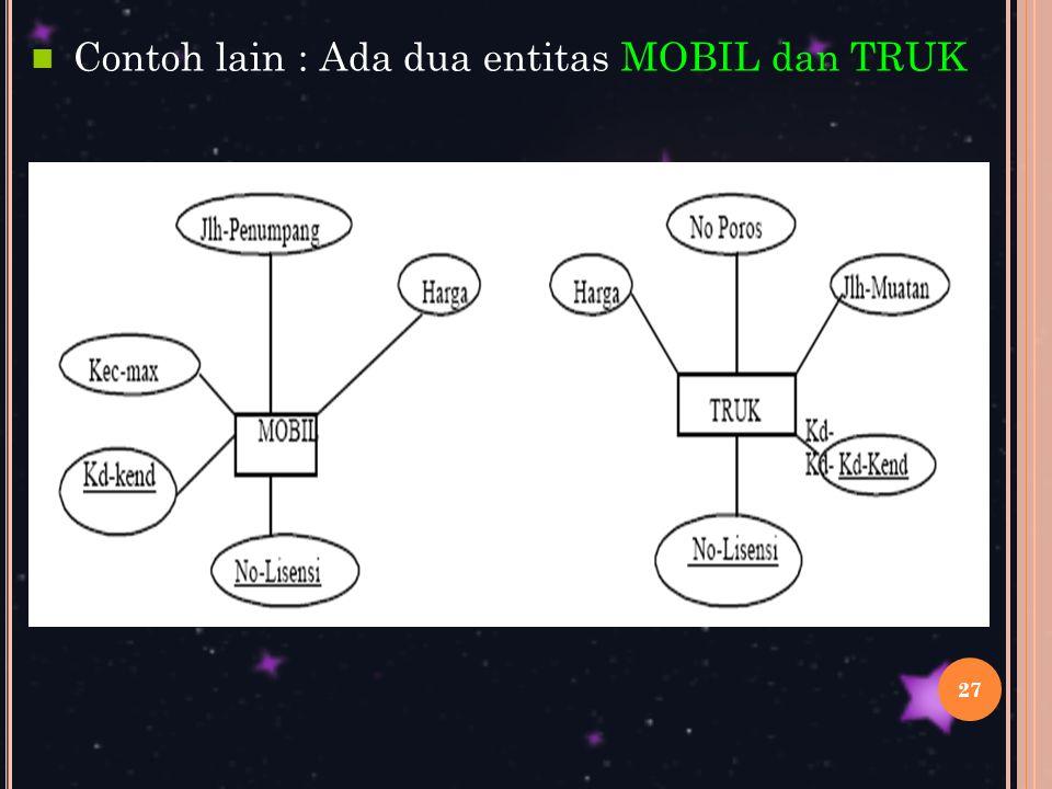 Contoh lain : Ada dua entitas MOBIL dan TRUK