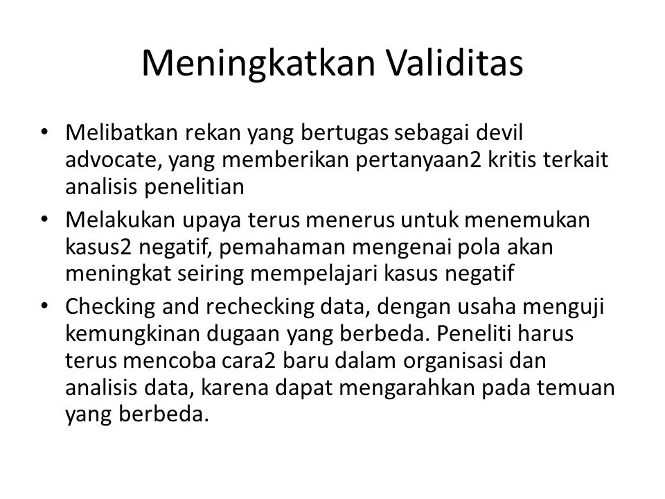 Meningkatkan Validitas