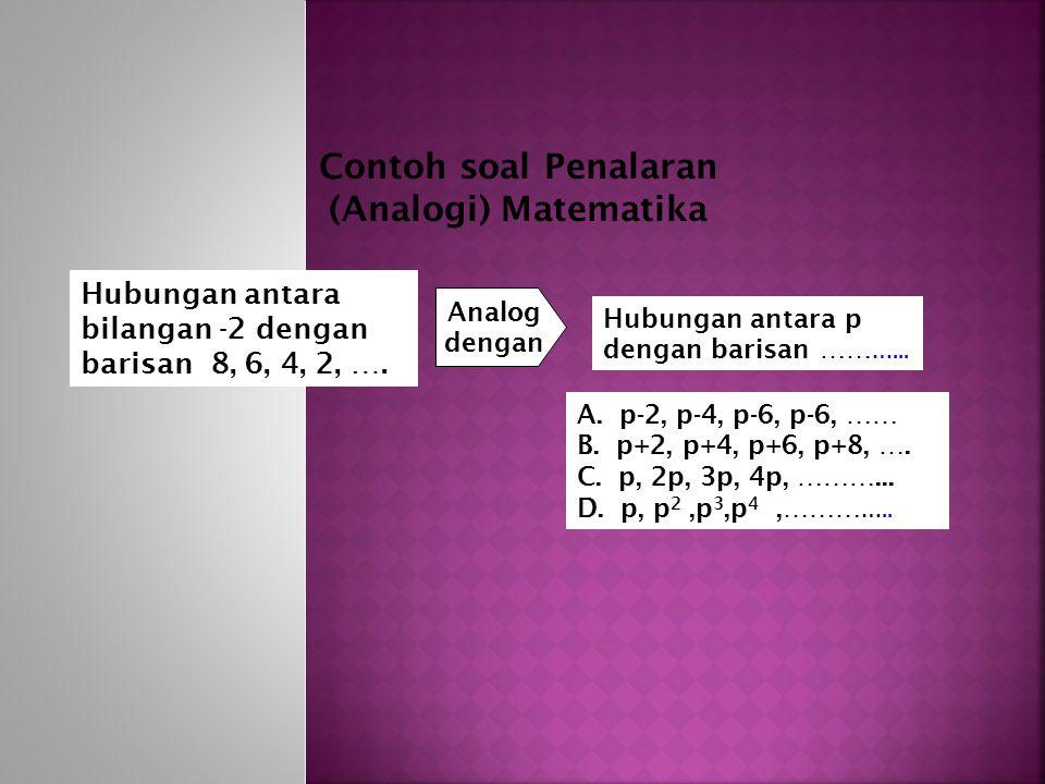 Contoh soal Penalaran (Analogi) Matematika
