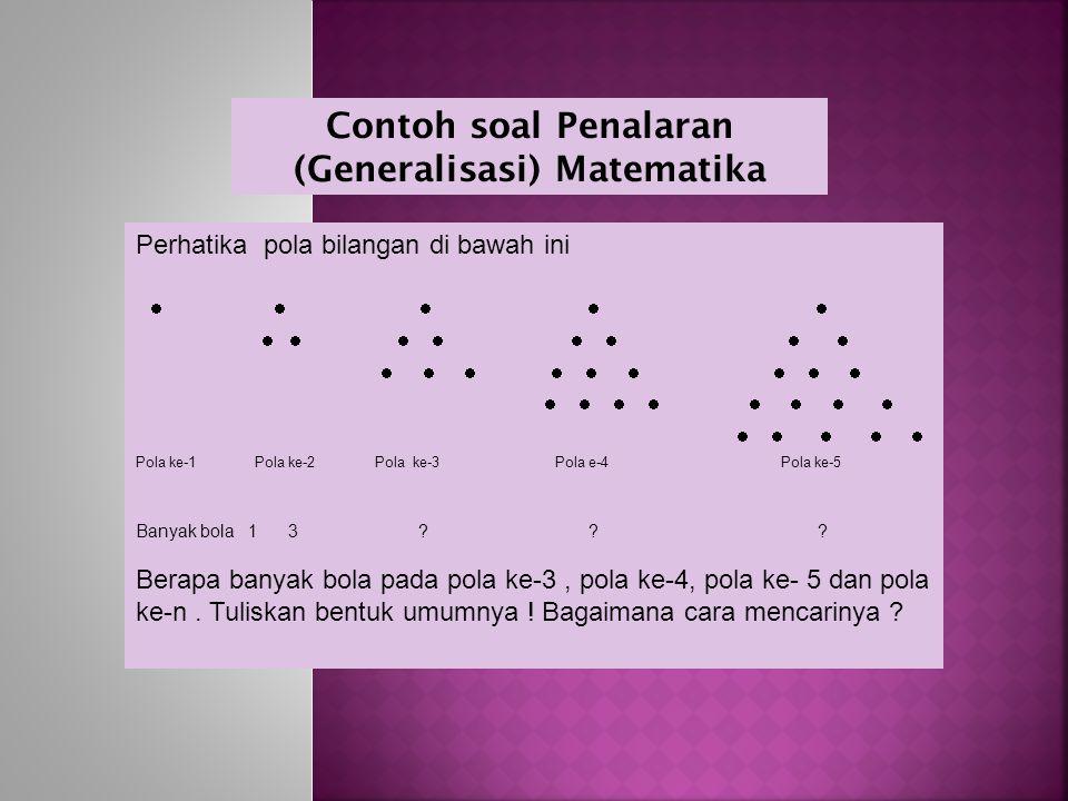 Contoh soal Penalaran (Generalisasi) Matematika