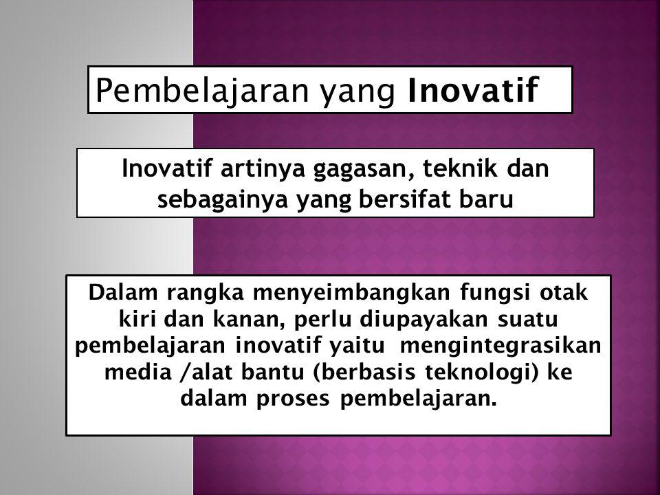 Inovatif artinya gagasan, teknik dan sebagainya yang bersifat baru