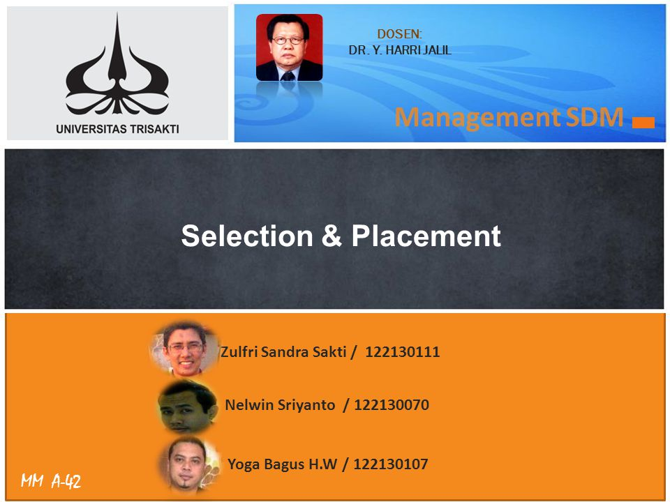 Management SDM Selection & Placement Zulfri Sandra Sakti /