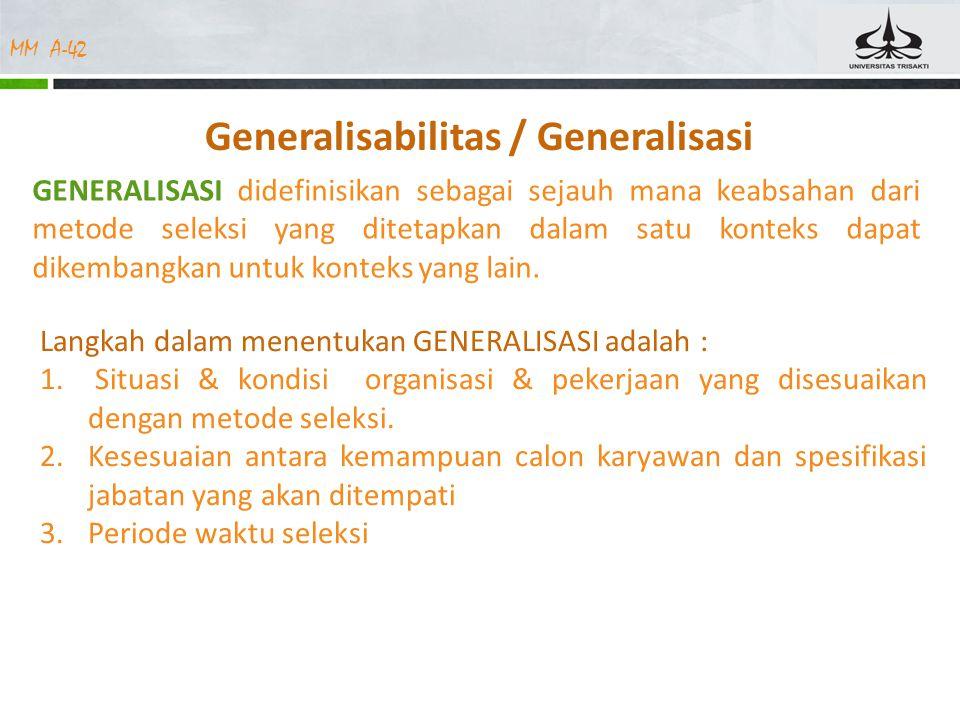 Generalisabilitas / Generalisasi