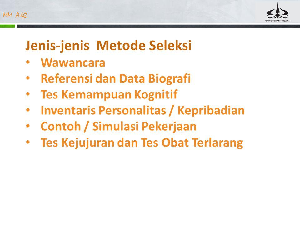 Jenis-jenis Metode Seleksi