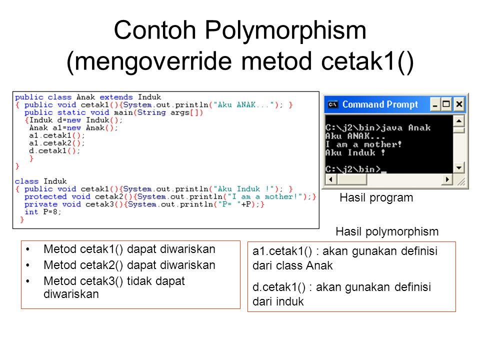 Contoh Polymorphism (mengoverride metod cetak1()