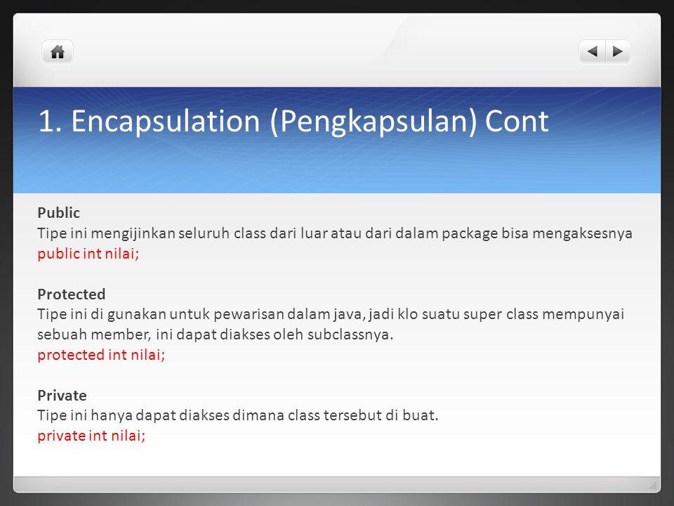 1. Encapsulation (Pengkapsulan) Cont