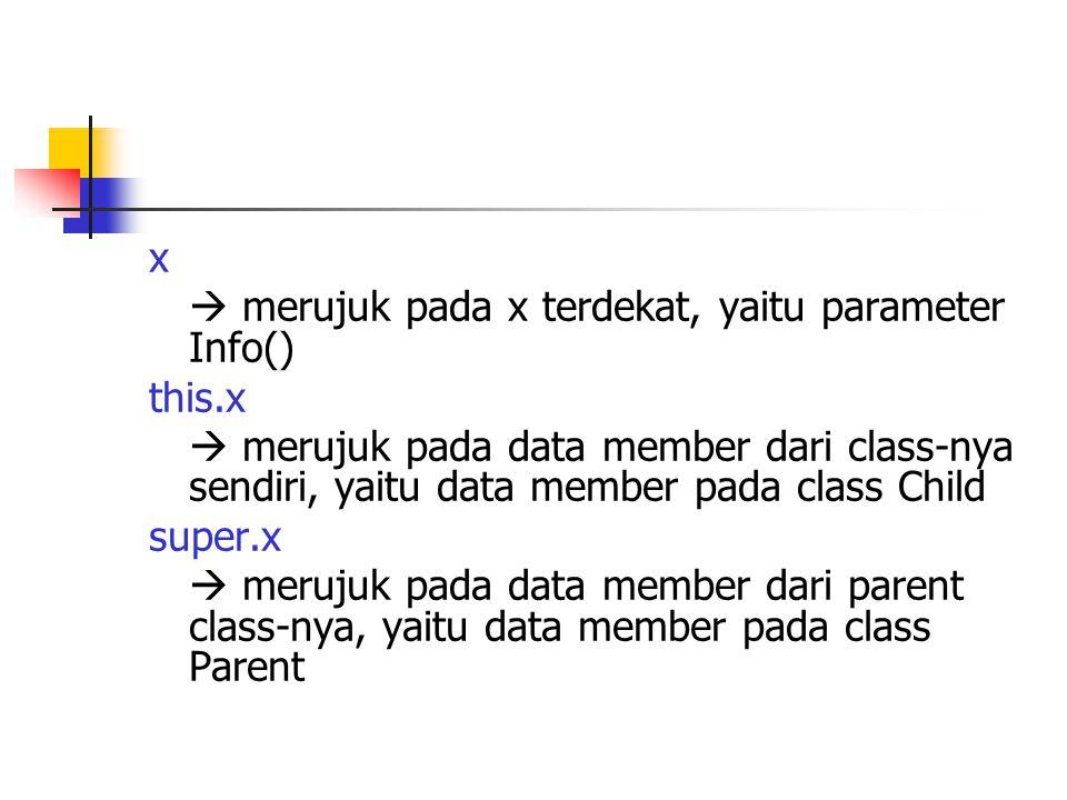 x  merujuk pada x terdekat, yaitu parameter Info() this.x.  merujuk pada data member dari class-nya sendiri, yaitu data member pada class Child.