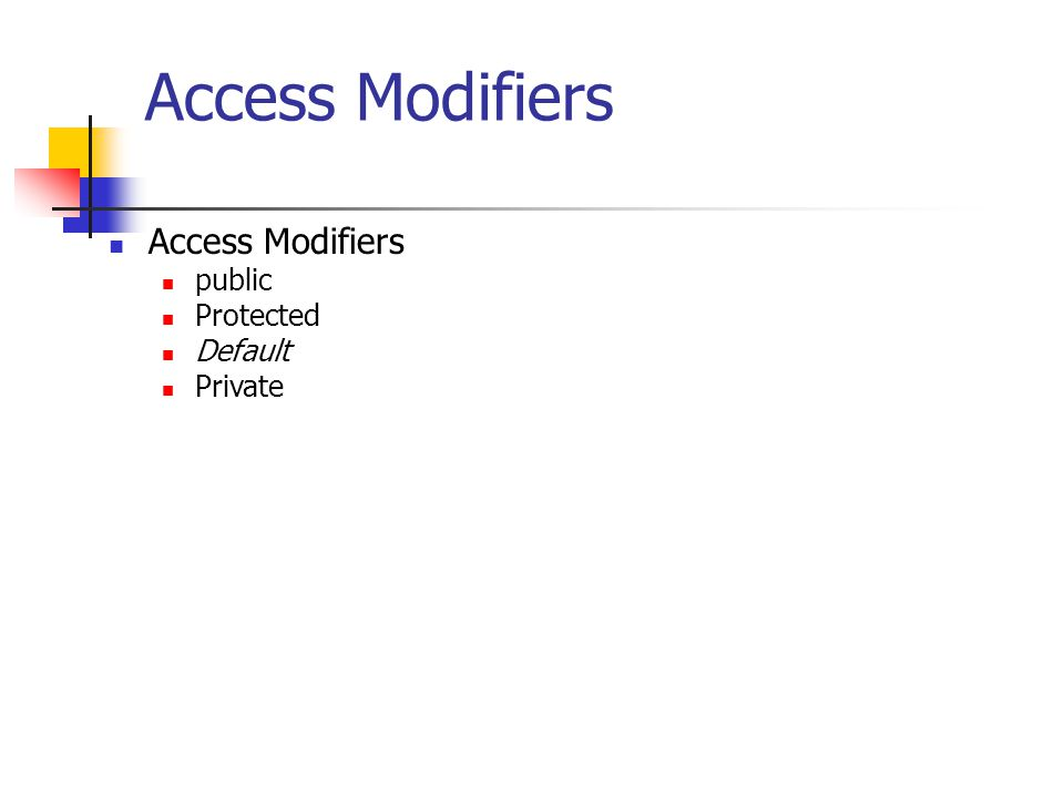 Access Modifiers Access Modifiers public Protected Default Private