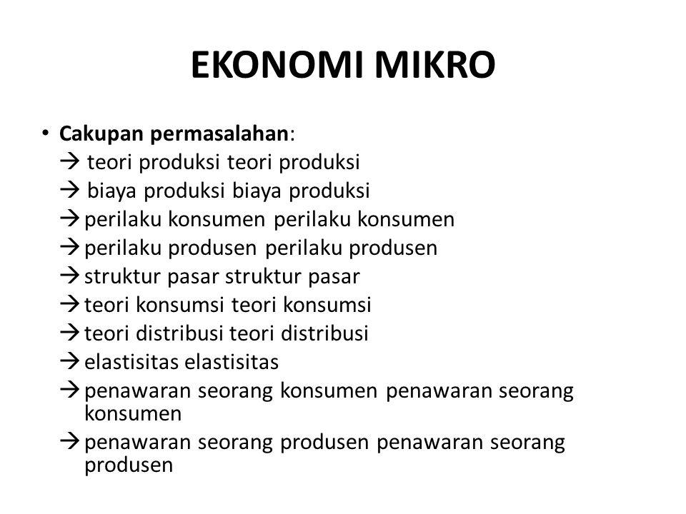 EKONOMI MIKRO Cakupan permasalahan:  teori produksi teori produksi