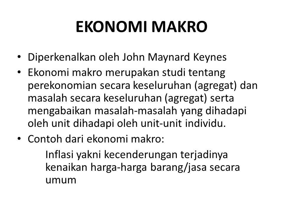 EKONOMI MAKRO Diperkenalkan oleh John Maynard Keynes