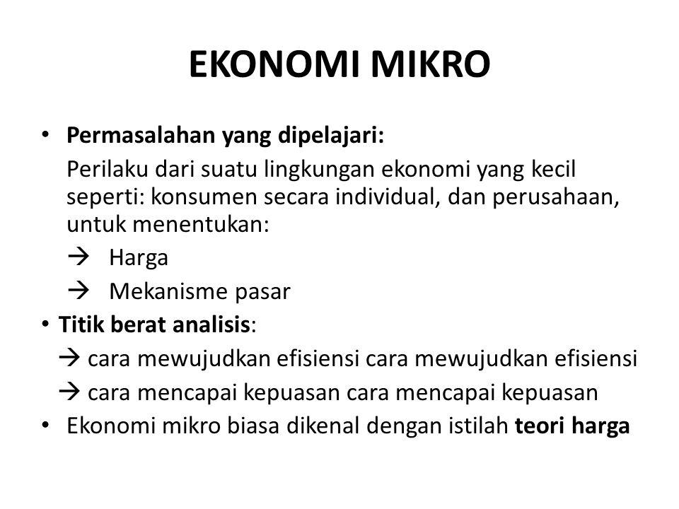 EKONOMI MIKRO Permasalahan yang dipelajari: