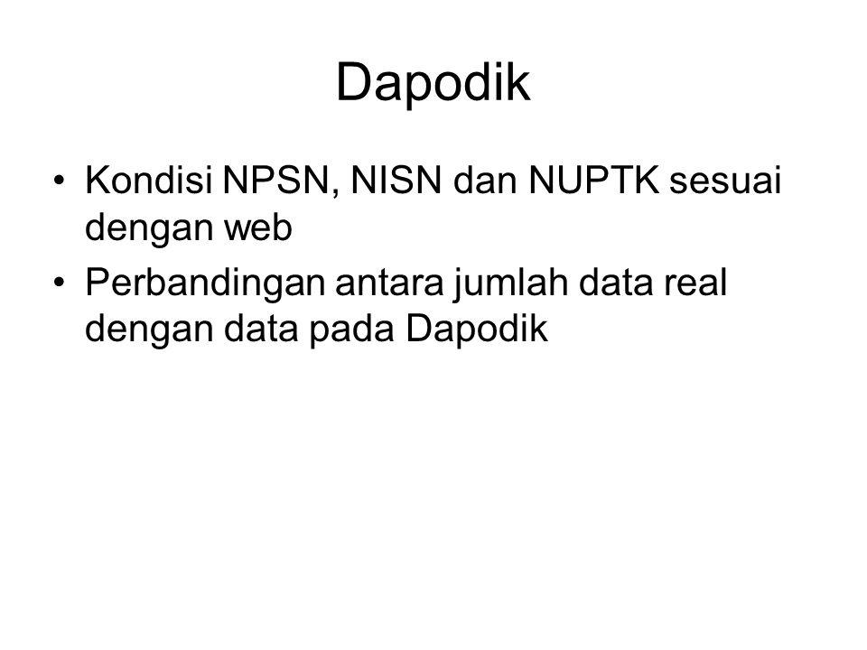 Dapodik Kondisi NPSN, NISN dan NUPTK sesuai dengan web