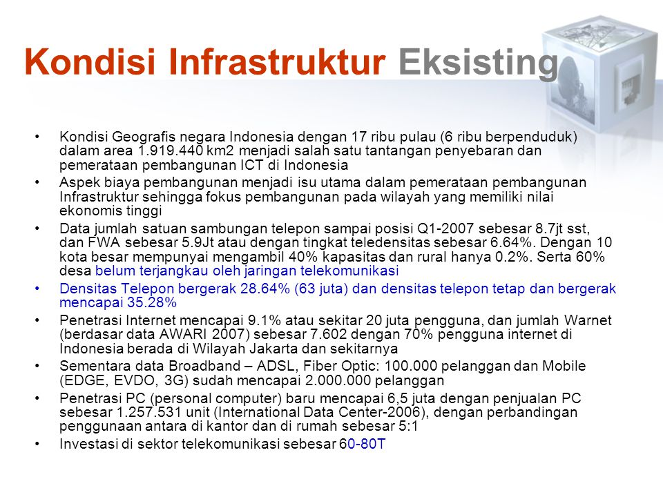 Kondisi Infrastruktur Eksisting