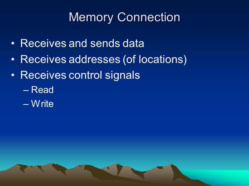 Memory Connection Receives and sends data