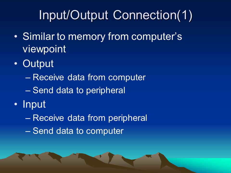 Input/Output Connection(1)