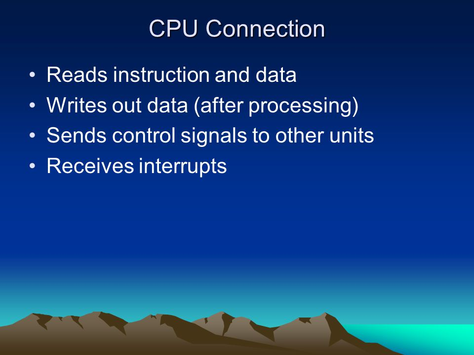 CPU Connection Reads instruction and data